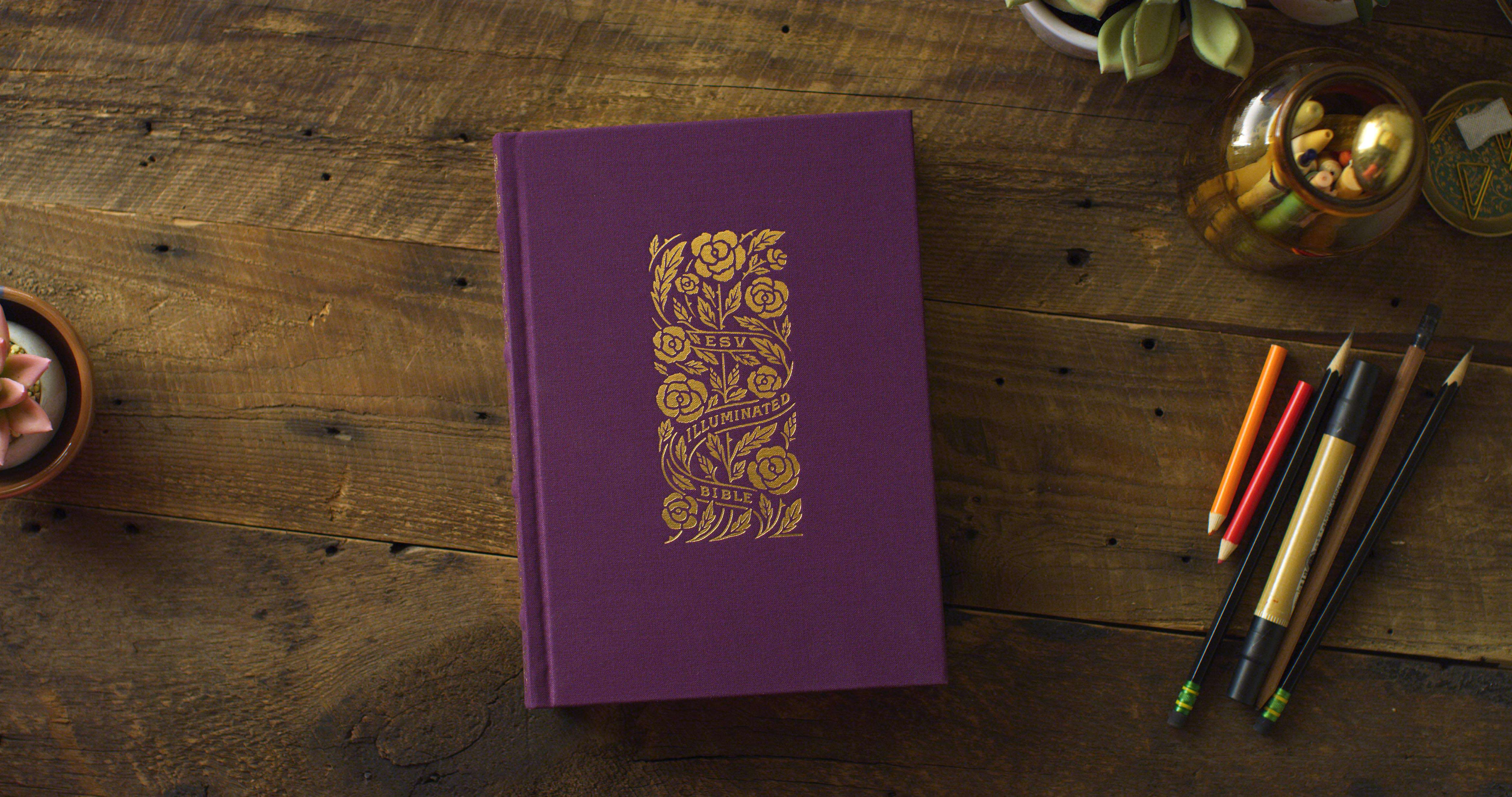 ESV Illuminated Bible, Art Journaling Edition, Eggplant Cloth over Board