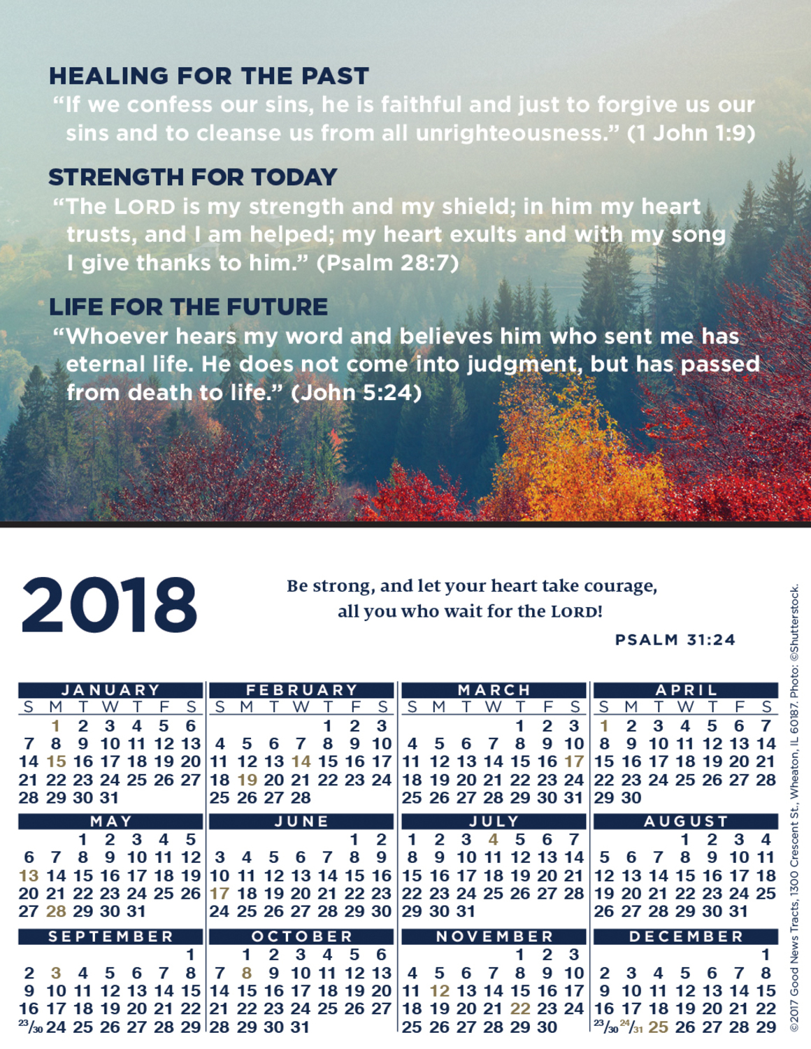 2018 Verse Calendar Card (Message)