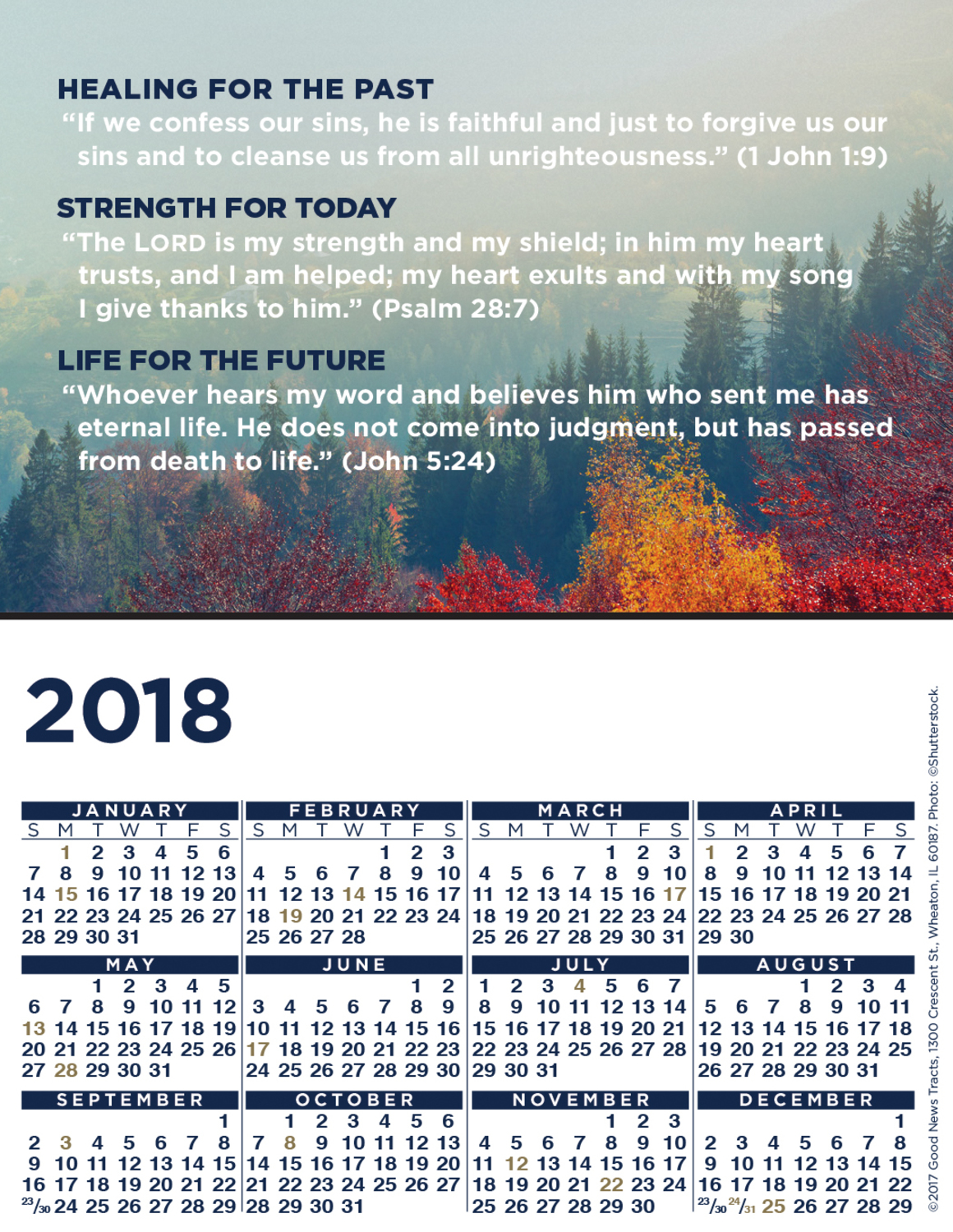 2018 Blank Calendar Card (Message)
