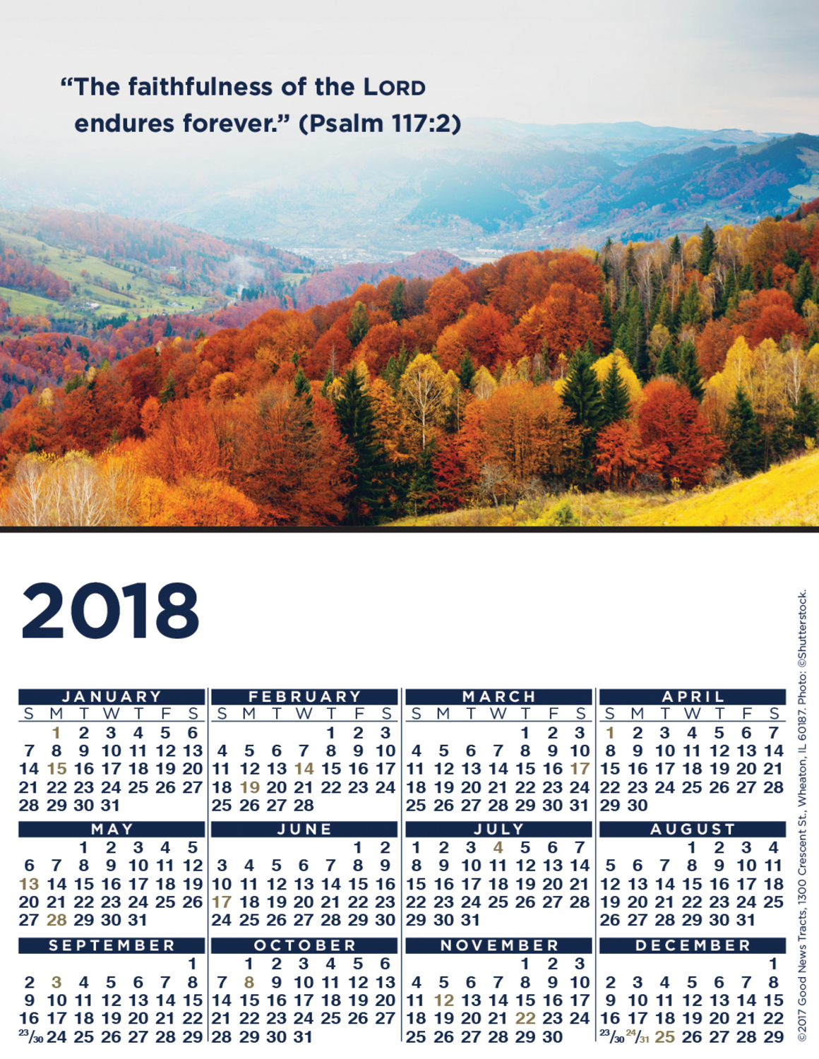 2018 Blank Calendar Card (Picture)