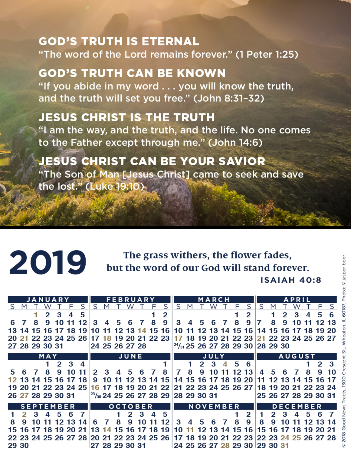 2019 Verse Calendar Card (Message)