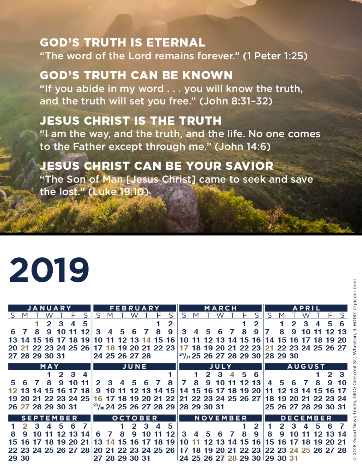 2019 Blank Calendar Card (Message)