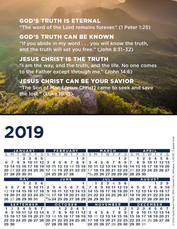 2019 Blank Calendar Card (Message)